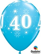 "Age 40 Sparkle Robin's Egg Blue 11"" Latex Balloons 25pk"