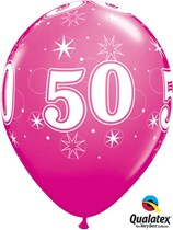 "Age 50 Sparkle Wild Berry 11"" Latex Balloons 25pk"