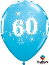 "Age 60 Sparkle Robin's Egg Blue 11"" Latex Balloons 25pk"