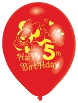 "Minnie ""5th Birthday"" 9"" Latex Balloons 6pk"