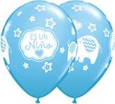 "Es Un Nino 11""  Elephants Pale Blue Latex Balloons 50pk"