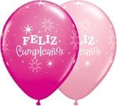"Feliz Cumpleanos 11"" Pink & Wild Berry Latex Balloons 50pk"