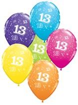 "Age 13 Latex 11"" Balloons 25pk"