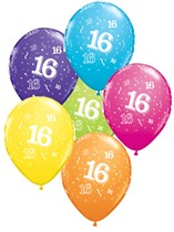"Age 16 Assorted 11"" Latex Balloons 25pk"