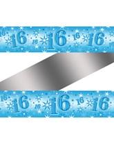 Blue Sparkle Age 16 Birthday Foil Banner
