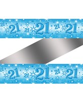 Blue Sparkle Age 21 Birthday Foil Banner