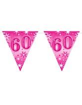 Pink Sparkle Age 60 Birthday Flag Banner