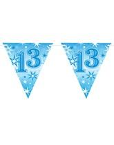 Blue Sparkle Age 13 Birthday Flag Banner