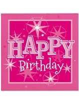 Pink Sparkle Happy Birthday Luncheon Napkins 20pk