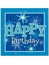 Blue Sparkle Happy Birthday Luncheon Napkins 20pk