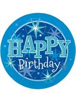 Blue Sparkle Happy Birthday Plates 8pk