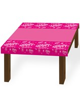 Pink Sparkle Happy Birthday Plastic Tablecover