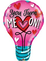 "Valentine You Turn Me On 40"" Supershape Foil Balloon"