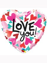 "Valentine's Day Love You Converging Hearts 18"" Foil Balloon"
