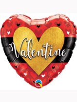 "Valentine Gold Heart 18"" Foil Balloon"