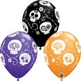 "Sugar Skulls Day Of The Dead 11"" Latex Balloons 25pk"
