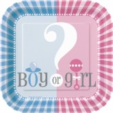 """Girl or Boy? Baby Shower 7"""" Square Plates - 10pk"""