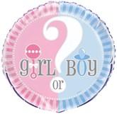 """Gender Reveal Boy Or Girl 18"""" Foil Balloon"""