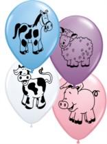 "11"" Assorted Farm Animal Latex Balloons - 25pk"