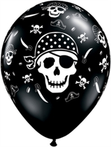 "Black Pirate Skull 11"" Latex Balloons 6pk"