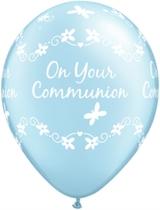 "Pearl Light Blue Communion 11"" Latex Balloons 6pk"