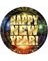 New Year Fireworks Paper Plates 8pk