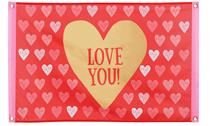 Giant Valentine's Love You Polyester Flag Banner 60 x 90cm