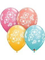 "Floral Blossoms Assorted 11"" Latex Balloons 25pk"