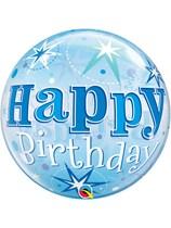 "Happy Birthday Blue Sparkle Bubble Balloon 22"""
