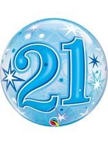 "Age 21 Blue Sparkle Bubble Balloon 22"""