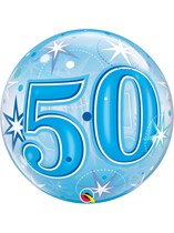 "Age 50 Blue Sparkle Bubble Balloon 22"""
