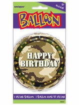 """Military Camouflage Happy Birthday 18"""" Foil Balloon"""