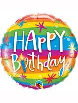 "Happy Birthday Rainbow Stripes 18"" Foil Balloon"
