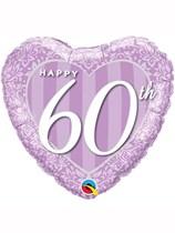"60th Anniversary Heart Shaped 18"" Foil Balloon"