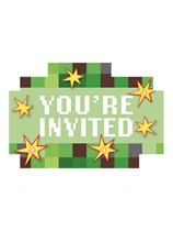 TNT Party Pixel Minecraft Postcard Invitations 8pk