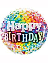 "Birthday Rainbow Confetti 18"" Foil Balloon"