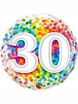 "30th Birthday Rainbow Confetti 18"" Foil Balloon"