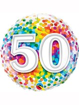 "50th Birthday Rainbow Confetti 18"" Foil Balloon"