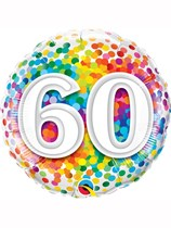 "60th Birthday Rainbow Confetti 18"" Foil Balloon"