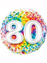 "80th Birthday Rainbow Confetti 18"" Foil Balloon"
