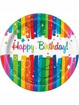 Rainbow Ribbons Happy Birthday Paper Plates 8pk