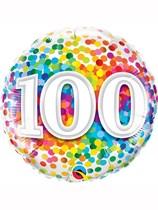 "100th Birthday Rainbow Confetti 18"" Foil Balloon"