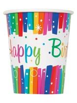 Rainbow Ribbons Happy Birthday Paper Cups 8pk