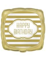 "Golden Happy Birthday Square 18"" Foil Balloon"
