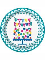Confetti Cake Happy Birthday Plates 8pk