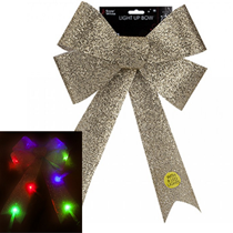 Christmas Gold Light up LED Bow