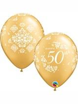 "Golden 50th Anniversary 11"" Latex Balloons 25pk"