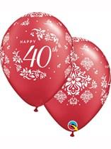 "Ruby 40th Anniversary 11"" Latex Balloons 25pk"