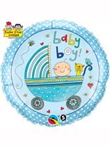 "Rachel Ellen Baby Boy Stroller 18"" Foil Balloon"