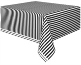 Black Stripes Rectangular Plastic Tablecover